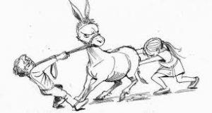 trek de ezel aan zijn staart